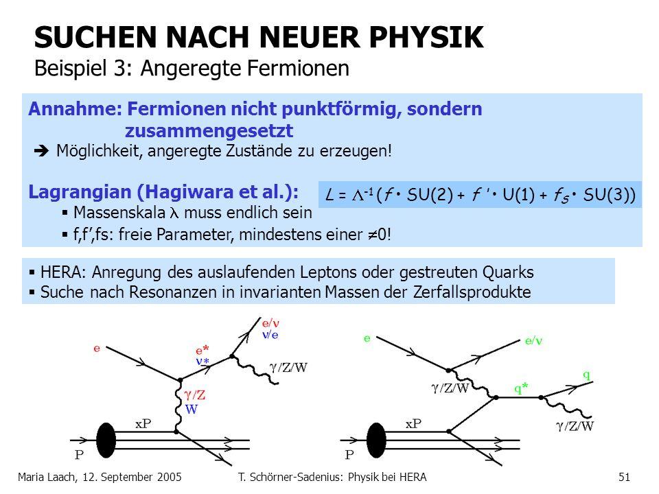Maria Laach, 12. September 2005T. Schörner-Sadenius: Physik bei HERA51 SUCHEN NACH NEUER PHYSIK Beispiel 3: Angeregte Fermionen HERA: Anregung des aus