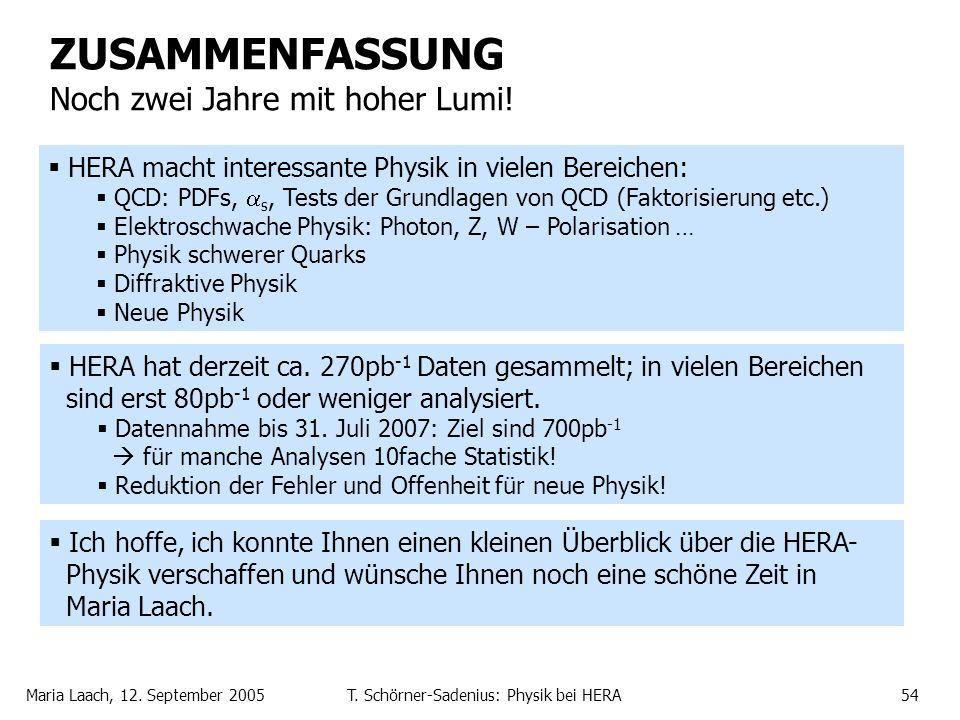 Maria Laach, 12. September 2005T. Schörner-Sadenius: Physik bei HERA54 ZUSAMMENFASSUNG Noch zwei Jahre mit hoher Lumi! HERA macht interessante Physik