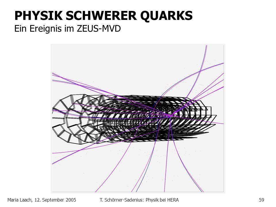 Maria Laach, 12. September 2005T. Schörner-Sadenius: Physik bei HERA59 PHYSIK SCHWERER QUARKS Ein Ereignis im ZEUS-MVD