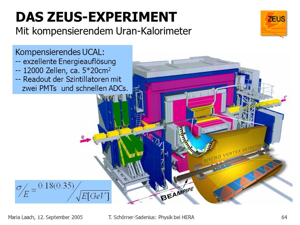 Maria Laach, 12. September 2005T. Schörner-Sadenius: Physik bei HERA64 DAS ZEUS-EXPERIMENT Mit kompensierendem Uran-Kalorimeter Kompensierendes UCAL: