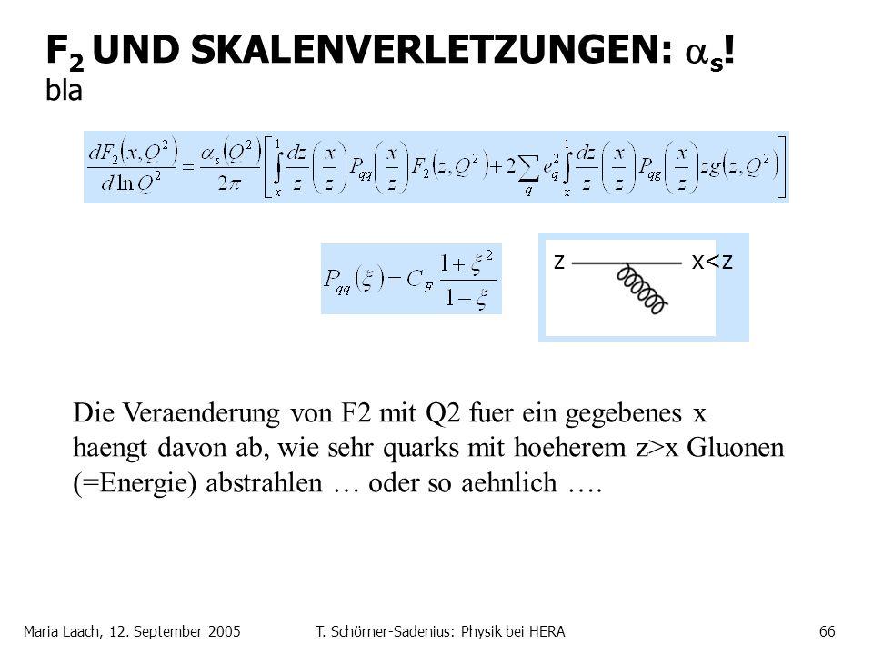 Maria Laach, 12. September 2005T. Schörner-Sadenius: Physik bei HERA66 F 2 UND SKALENVERLETZUNGEN: s ! bla zx<z Die Veraenderung von F2 mit Q2 fuer ei
