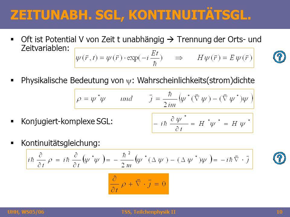UHH, WS05/06 TSS, Teilchenphysik II10 ZEITUNABH. SGL, KONTINUITÄTSGL. Oft ist Potential V von Zeit t unabhängig Trennung der Orts- und Zeitvariablen: