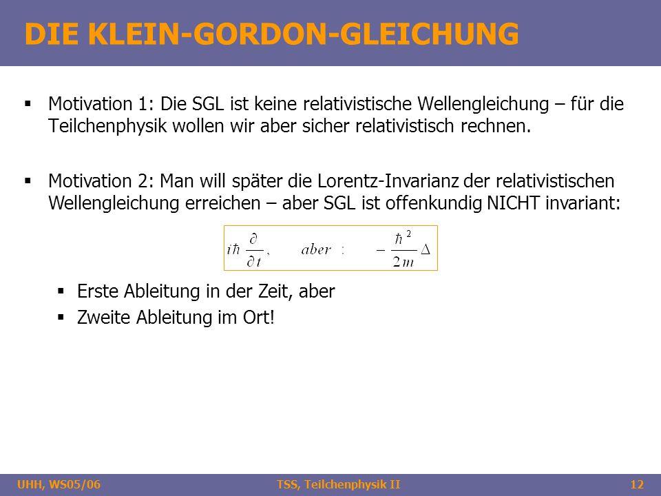 UHH, WS05/06 TSS, Teilchenphysik II12 DIE KLEIN-GORDON-GLEICHUNG Motivation 1: Die SGL ist keine relativistische Wellengleichung – für die Teilchenphy