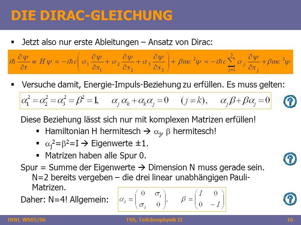 UHH, WS05/06 TSS, Teilchenphysik II16 DIE DIRAC-GLEICHUNG Jetzt also nur erste Ableitungen – Ansatz von Dirac: Versuche damit, Energie-Impuls-Beziehun