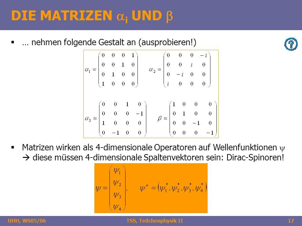 UHH, WS05/06 TSS, Teilchenphysik II17 DIE MATRIZEN i UND … nehmen folgende Gestalt an (ausprobieren!) Matrizen wirken als 4-dimensionale Operatoren au