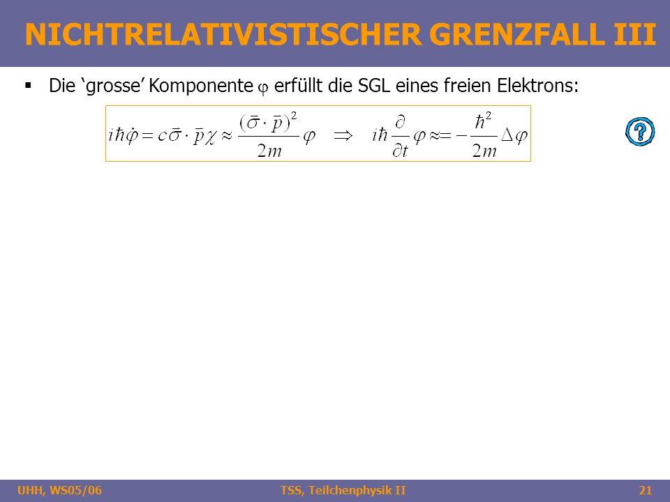 UHH, WS05/06 TSS, Teilchenphysik II21 NICHTRELATIVISTISCHER GRENZFALL III Die grosse Komponente erfüllt die SGL eines freien Elektrons: