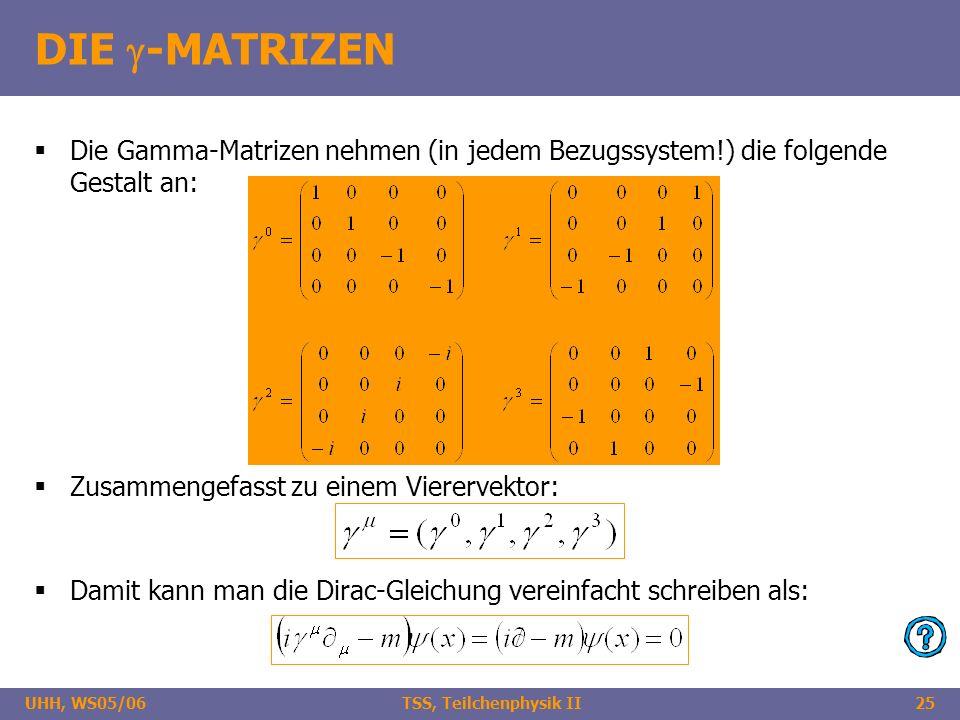 UHH, WS05/06 TSS, Teilchenphysik II25 DIE -MATRIZEN Die Gamma-Matrizen nehmen (in jedem Bezugssystem!) die folgende Gestalt an: Zusammengefasst zu ein