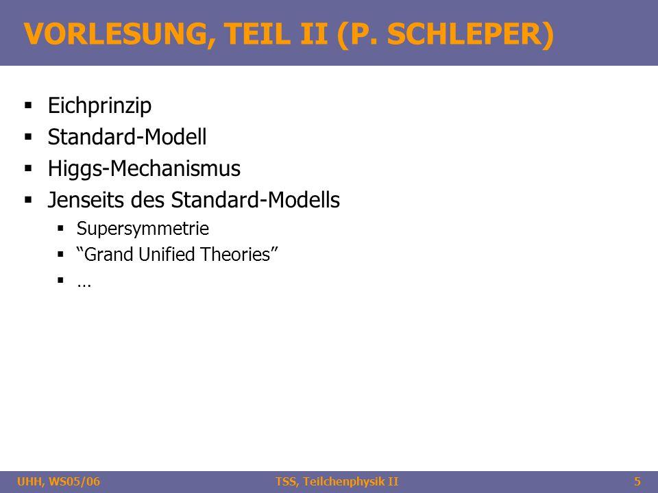 UHH, WS05/06 TSS, Teilchenphysik II5 VORLESUNG, TEIL II (P. SCHLEPER) Eichprinzip Standard-Modell Higgs-Mechanismus Jenseits des Standard-Modells Supe