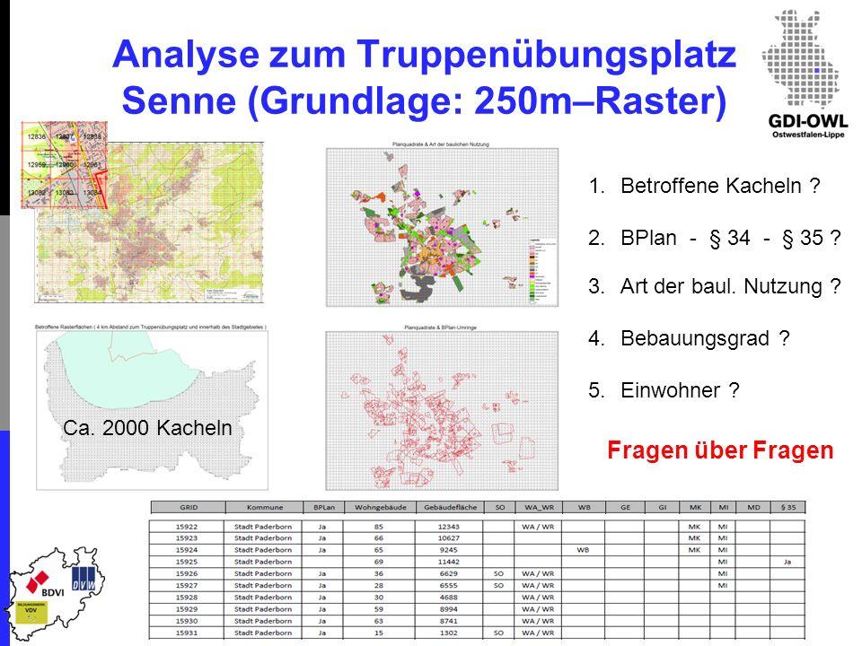 Analyse zum Truppenübungsplatz Senne (Grundlage: 250m–Raster) 1.Betroffene Kacheln .
