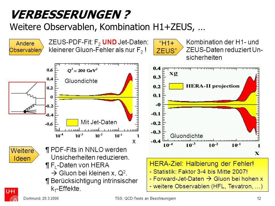 Dortmund, 29.3.2006TSS: QCD-Tests an Beschleunigern12 x VERBESSERUNGEN ? Weitere Observablen, Kombination H1+ZEUS, … Andere Observablen H1+ ZEUS ZEUS-