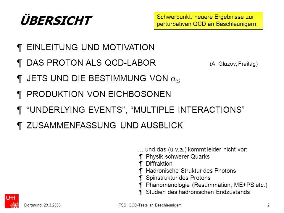 Dortmund, 29.3.2006TSS: QCD-Tests an Beschleunigern2 ÜBERSICHT ¶ EINLEITUNG UND MOTIVATION ¶ DAS PROTON ALS QCD-LABOR (A. Glazov, Freitag) ¶ JETS UND