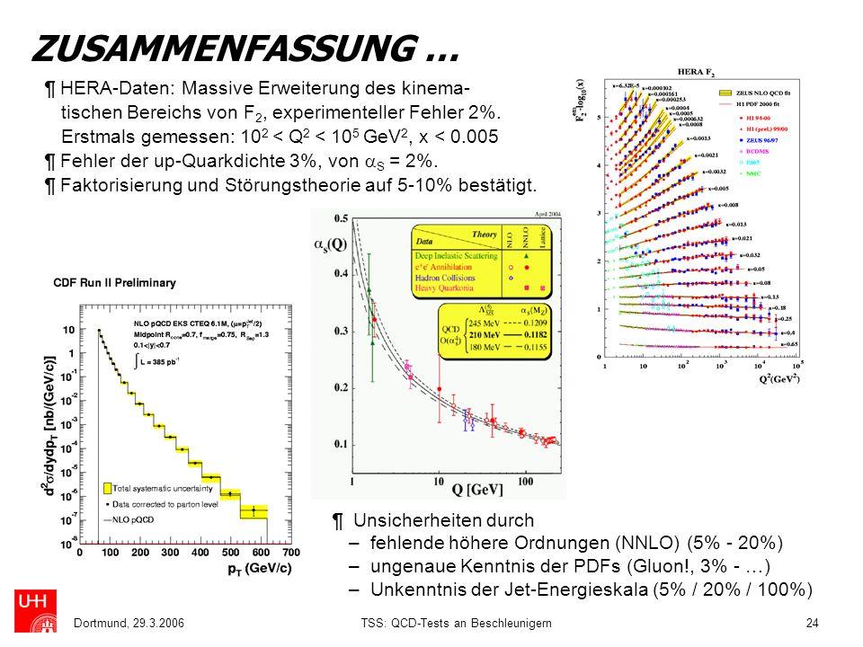 Dortmund, 29.3.2006TSS: QCD-Tests an Beschleunigern24 ZUSAMMENFASSUNG … ¶ HERA-Daten: Massive Erweiterung des kinema- tischen Bereichs von F 2, experi