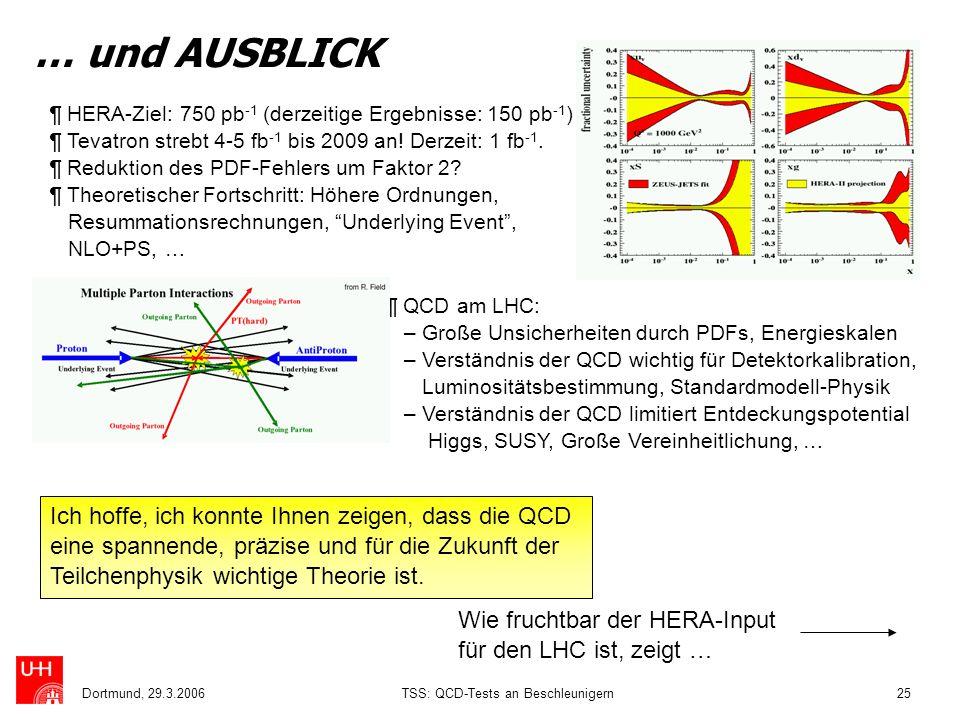 Dortmund, 29.3.2006TSS: QCD-Tests an Beschleunigern25 … und AUSBLICK ¶ HERA-Ziel: 750 pb -1 (derzeitige Ergebnisse: 150 pb -1 ) ¶ Tevatron strebt 4-5