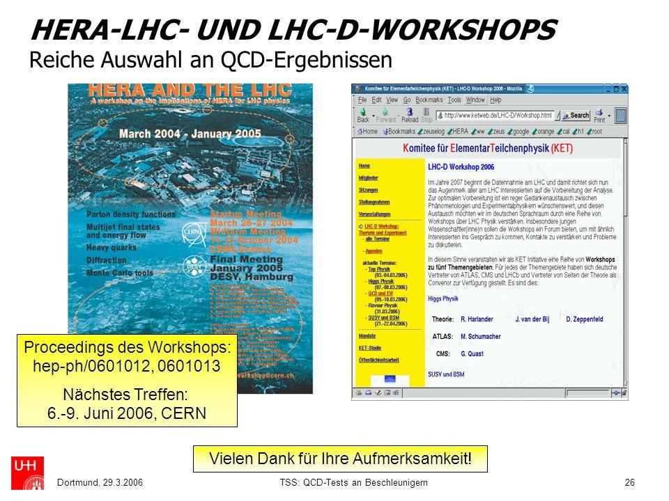 Dortmund, 29.3.2006TSS: QCD-Tests an Beschleunigern26 HERA-LHC- UND LHC-D-WORKSHOPS Reiche Auswahl an QCD-Ergebnissen Proceedings des Workshops: hep-p