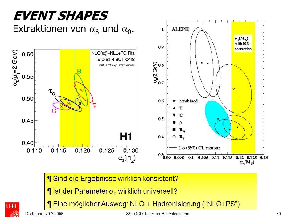 Dortmund, 29.3.2006TSS: QCD-Tests an Beschleunigern30 EVENT SHAPES Extraktionen von S und 0. ¶ Sind die Ergebnisse wirklich konsistent? ¶ Ist der Para