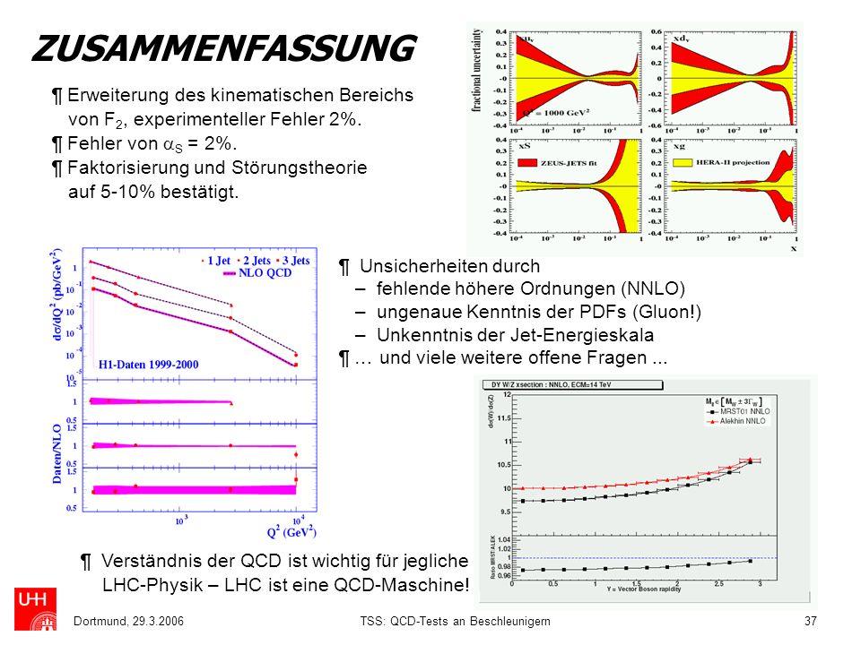 Dortmund, 29.3.2006TSS: QCD-Tests an Beschleunigern37 ZUSAMMENFASSUNG ¶ Erweiterung des kinematischen Bereichs von F 2, experimenteller Fehler 2%. ¶ F
