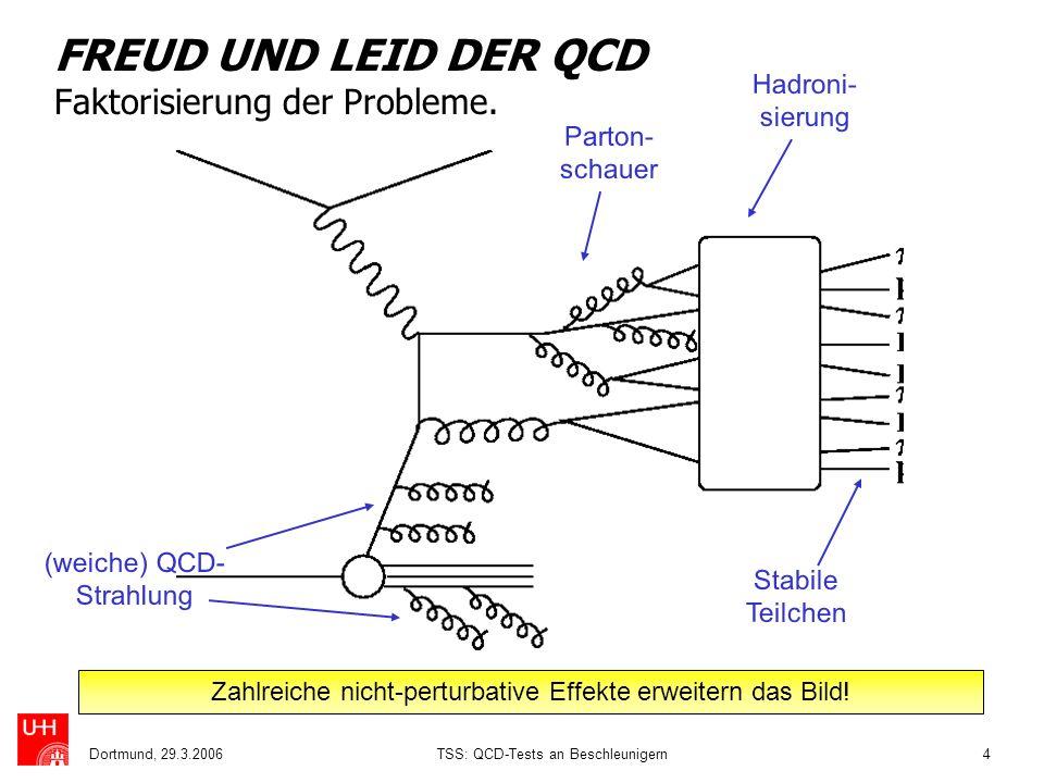 Dortmund, 29.3.2006TSS: QCD-Tests an Beschleunigern4 FREUD UND LEID DER QCD Faktorisierung der Probleme. (weiche) QCD- Strahlung Parton- schauer Hadro