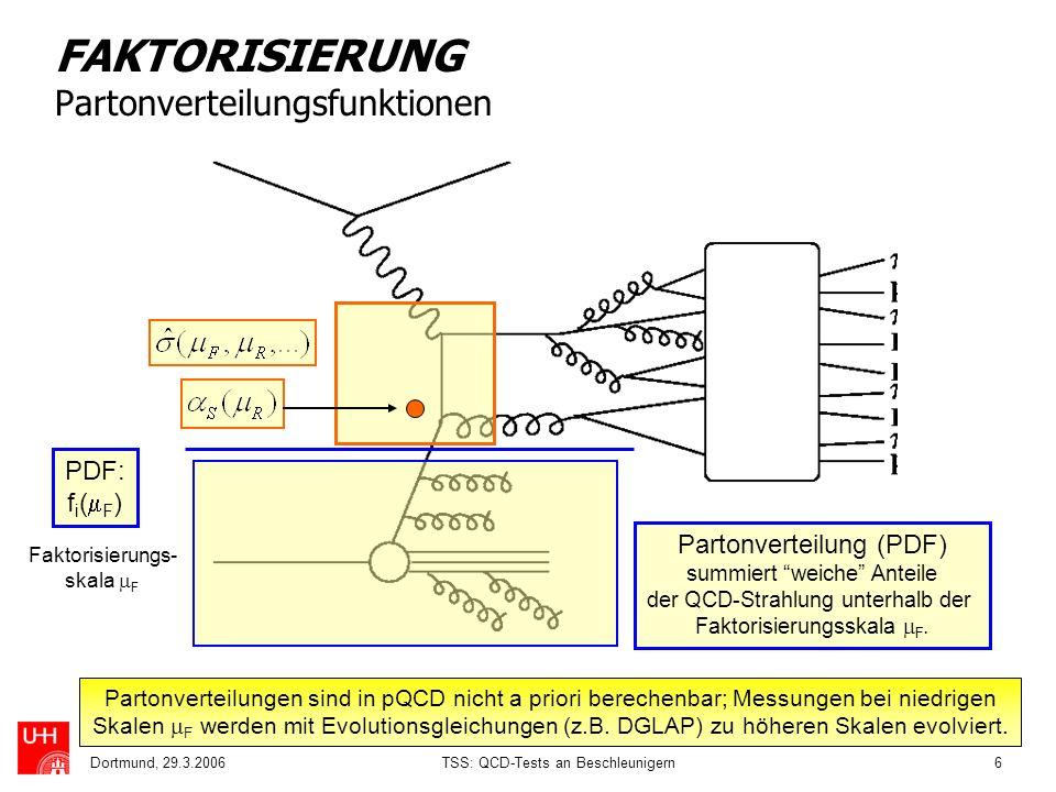 Dortmund, 29.3.2006TSS: QCD-Tests an Beschleunigern6 FAKTORISIERUNG Partonverteilungsfunktionen Partonverteilungen sind in pQCD nicht a priori bereche