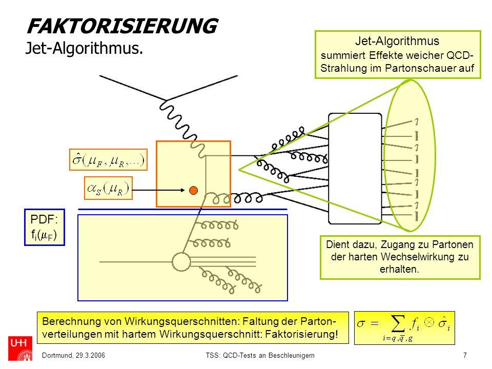 Dortmund, 29.3.2006TSS: QCD-Tests an Beschleunigern7 FAKTORISIERUNG Jet-Algorithmus. Jet-Algorithmus summiert Effekte weicher QCD- Strahlung im Parton
