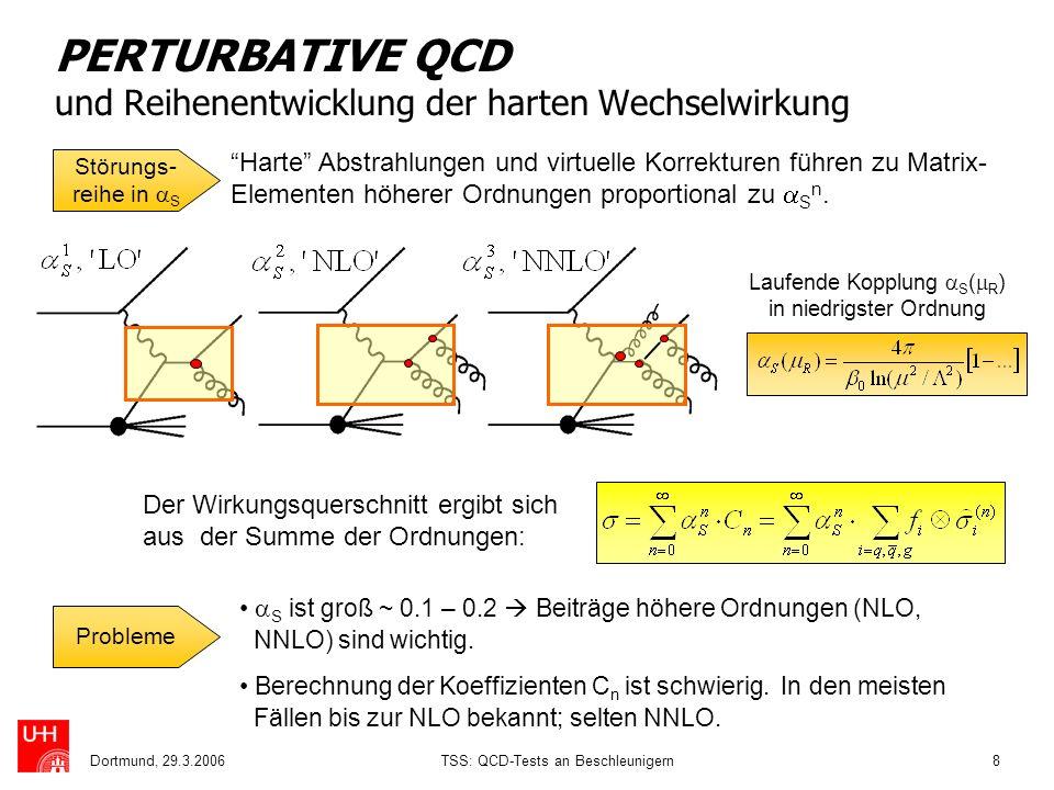 Dortmund, 29.3.2006TSS: QCD-Tests an Beschleunigern8 PERTURBATIVE QCD und Reihenentwicklung der harten Wechselwirkung S ist groß ~ 0.1 – 0.2 Beiträge