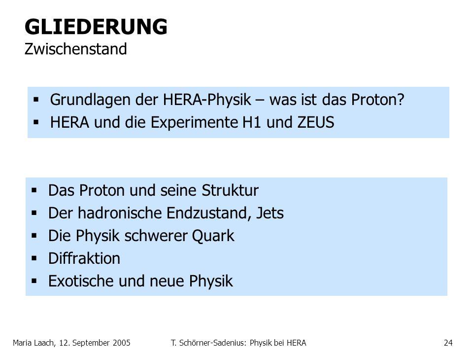 Maria Laach, 12. September 2005T. Schörner-Sadenius: Physik bei HERA24 GLIEDERUNG Zwischenstand Das Proton und seine Struktur Der hadronische Endzusta