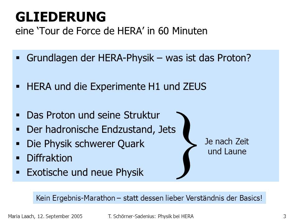 Maria Laach, 12. September 2005T. Schörner-Sadenius: Physik bei HERA3 GLIEDERUNG eine Tour de Force de HERA in 60 Minuten Grundlagen der HERA-Physik –