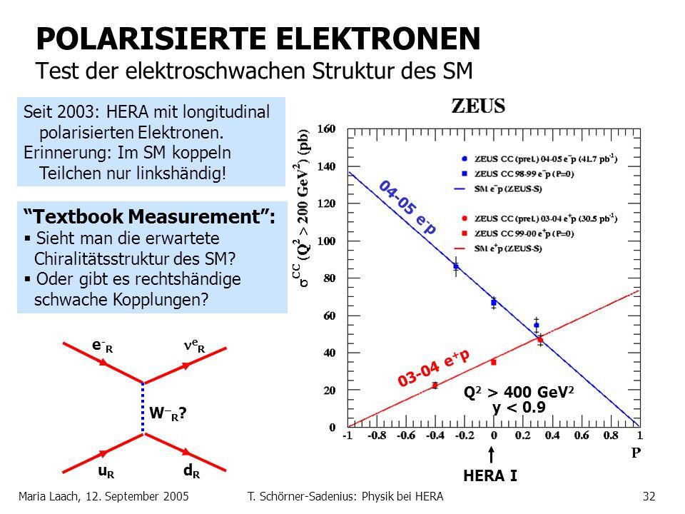 Maria Laach, 12. September 2005T. Schörner-Sadenius: Physik bei HERA32 POLARISIERTE ELEKTRONEN Test der elektroschwachen Struktur des SM NC: Textbook