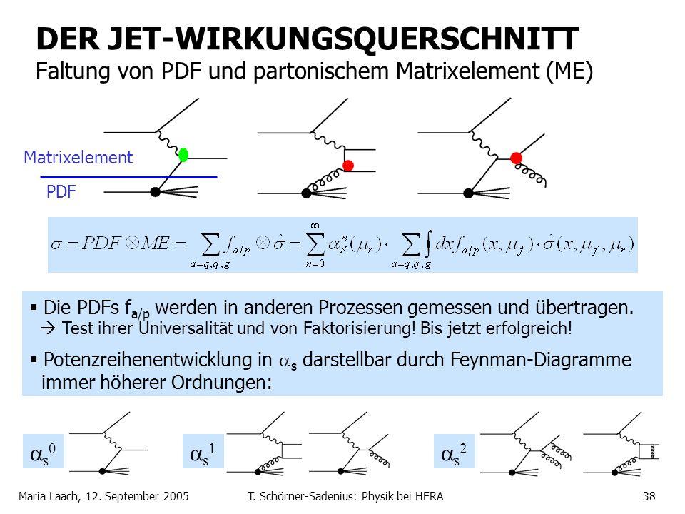 Maria Laach, 12. September 2005T. Schörner-Sadenius: Physik bei HERA38 DER JET-WIRKUNGSQUERSCHNITT Faltung von PDF und partonischem Matrixelement (ME)