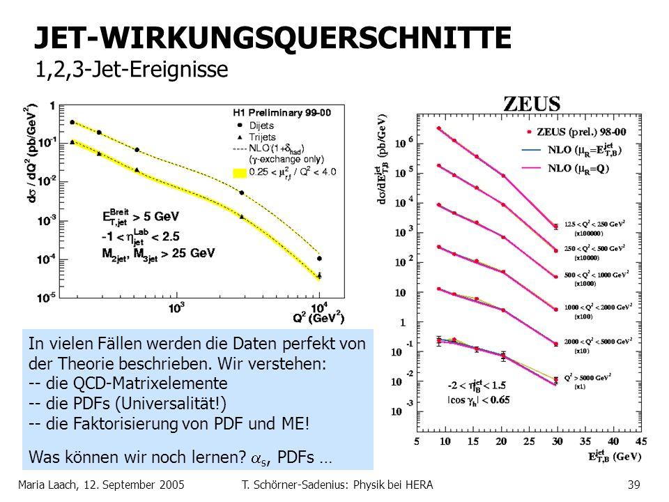 Maria Laach, 12. September 2005T. Schörner-Sadenius: Physik bei HERA39 JET-WIRKUNGSQUERSCHNITTE 1,2,3-Jet-Ereignisse In vielen Fällen werden die Daten