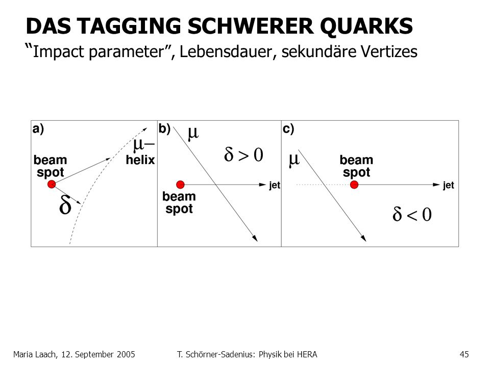 Maria Laach, 12. September 2005T. Schörner-Sadenius: Physik bei HERA45 DAS TAGGING SCHWERER QUARKS Impact parameter, Lebensdauer, sekundäre Vertizes