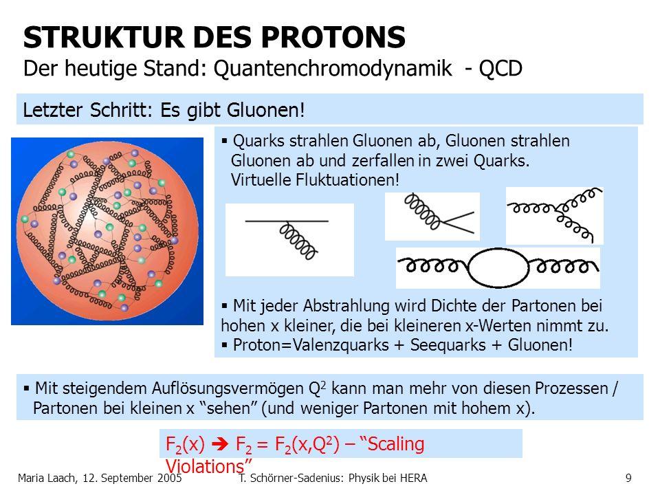 Maria Laach, 12. September 2005T. Schörner-Sadenius: Physik bei HERA9 Quarks strahlen Gluonen ab, Gluonen strahlen Gluonen ab und zerfallen in zwei Qu