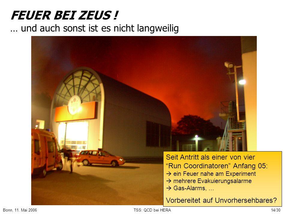 Bonn, 11. Mai 2006TSS: QCD bei HERA14/30 FEUER BEI ZEUS ! … und auch sonst ist es nicht langweilig Seit Antritt als einer von vier Run Coordinatoren A