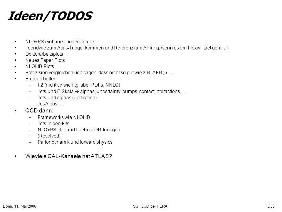 Bonn, 11. Mai 2006TSS: QCD bei HERA3/30 Ideen/TODOS NLO+PS einbauen und Referenz Irgendwie zum Atlas-Trigger kommen und Referenz (am Anfang, wenn es u