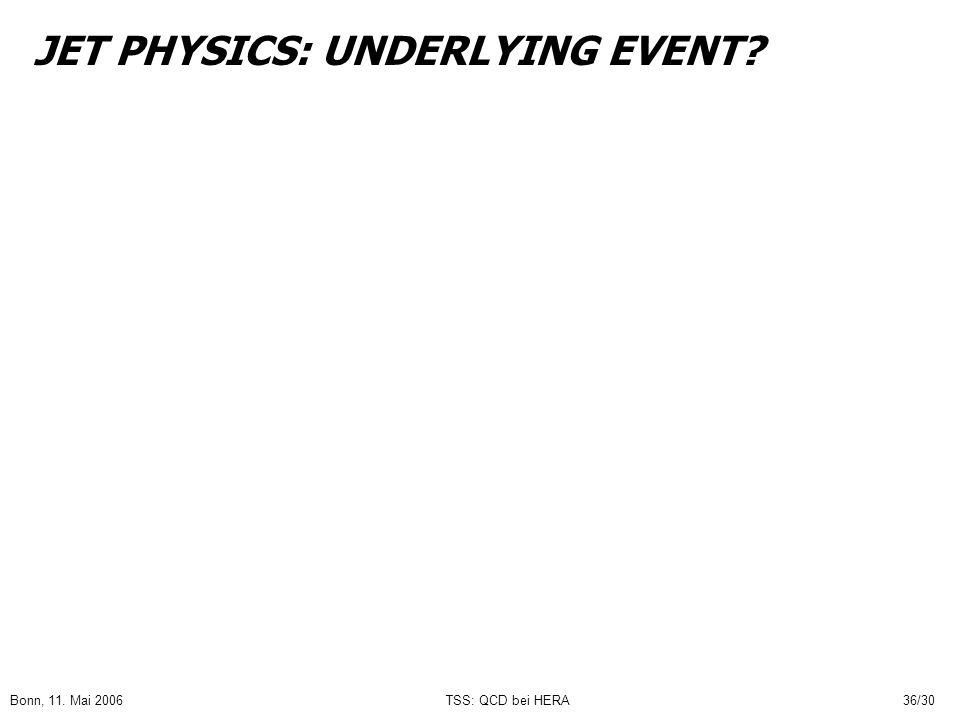 Bonn, 11. Mai 2006TSS: QCD bei HERA36/30 JET PHYSICS: UNDERLYING EVENT?