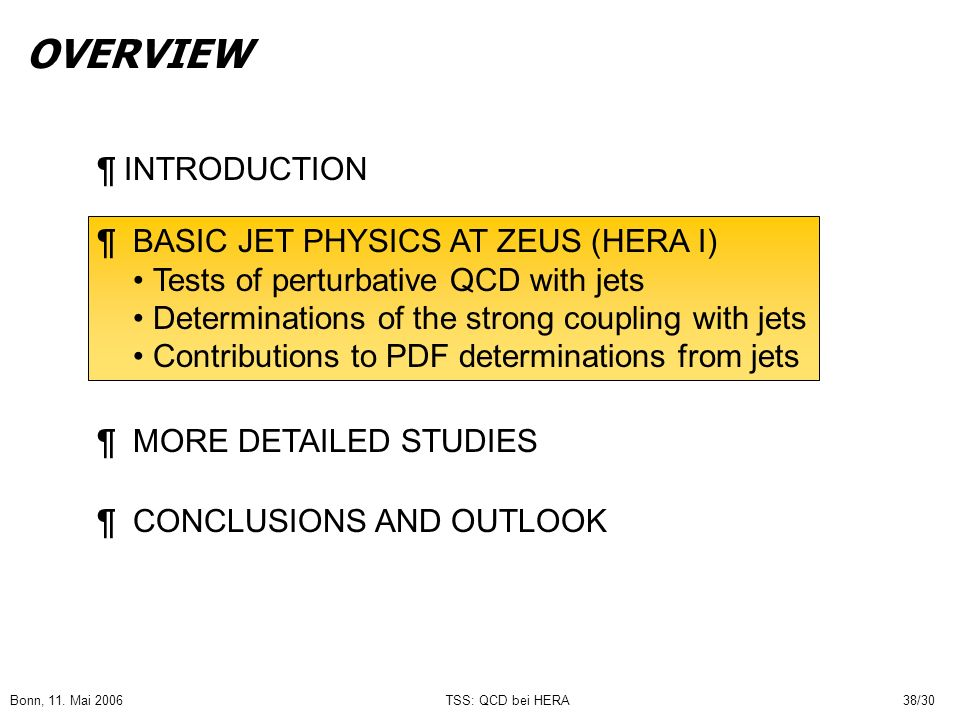 Bonn, 11. Mai 2006TSS: QCD bei HERA38/30 OVERVIEW ¶ INTRODUCTION ¶ BASIC JET PHYSICS AT ZEUS (HERA I) Tests of perturbative QCD with jets Determinatio