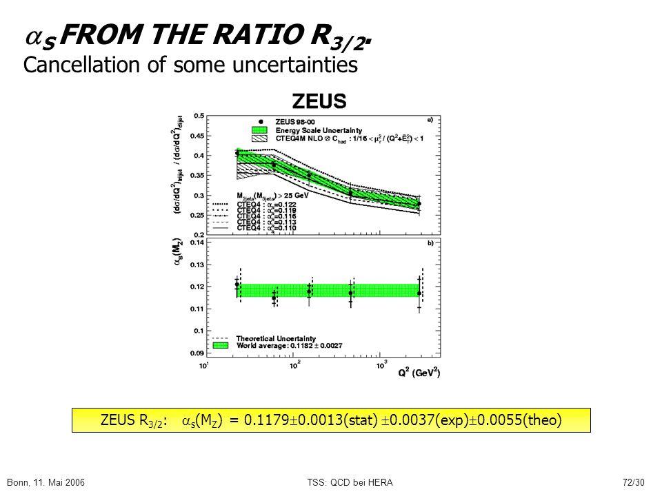 Bonn, 11.Mai 2006TSS: QCD bei HERA72/30 S FROM THE RATIO R 3/2.