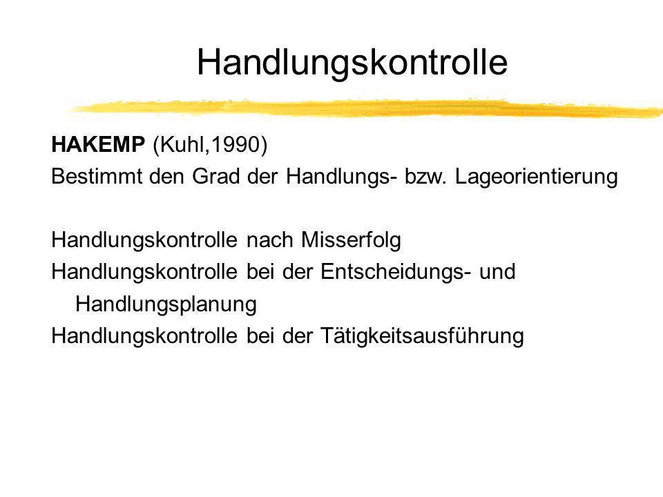 Handlungskontrolle HAKEMP (Kuhl,1990) Bestimmt den Grad der Handlungs- bzw. Lageorientierung Handlungskontrolle nach Misserfolg Handlungskontrolle bei