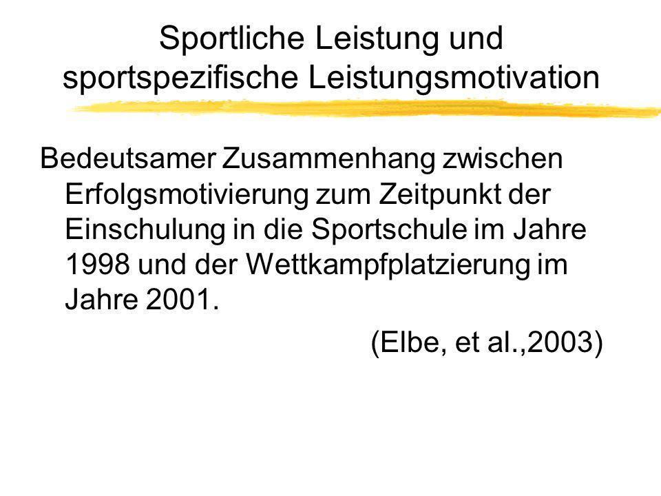 Sportliche Leistung und sportspezifische Leistungsmotivation Bedeutsamer Zusammenhang zwischen Erfolgsmotivierung zum Zeitpunkt der Einschulung in die
