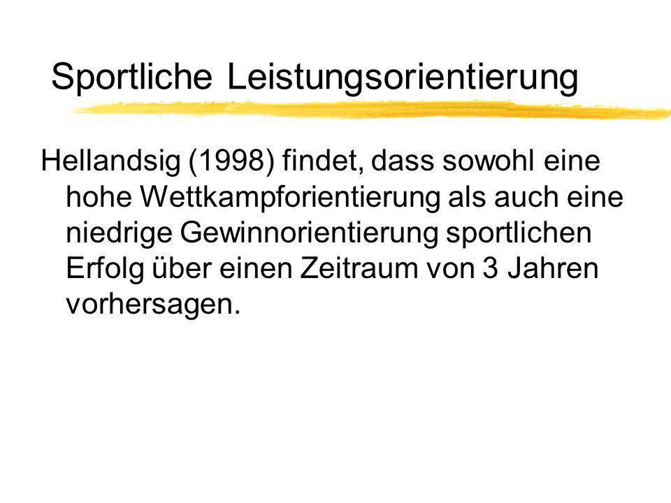 Sportliche Leistungsorientierung Hellandsig (1998) findet, dass sowohl eine hohe Wettkampforientierung als auch eine niedrige Gewinnorientierung sport
