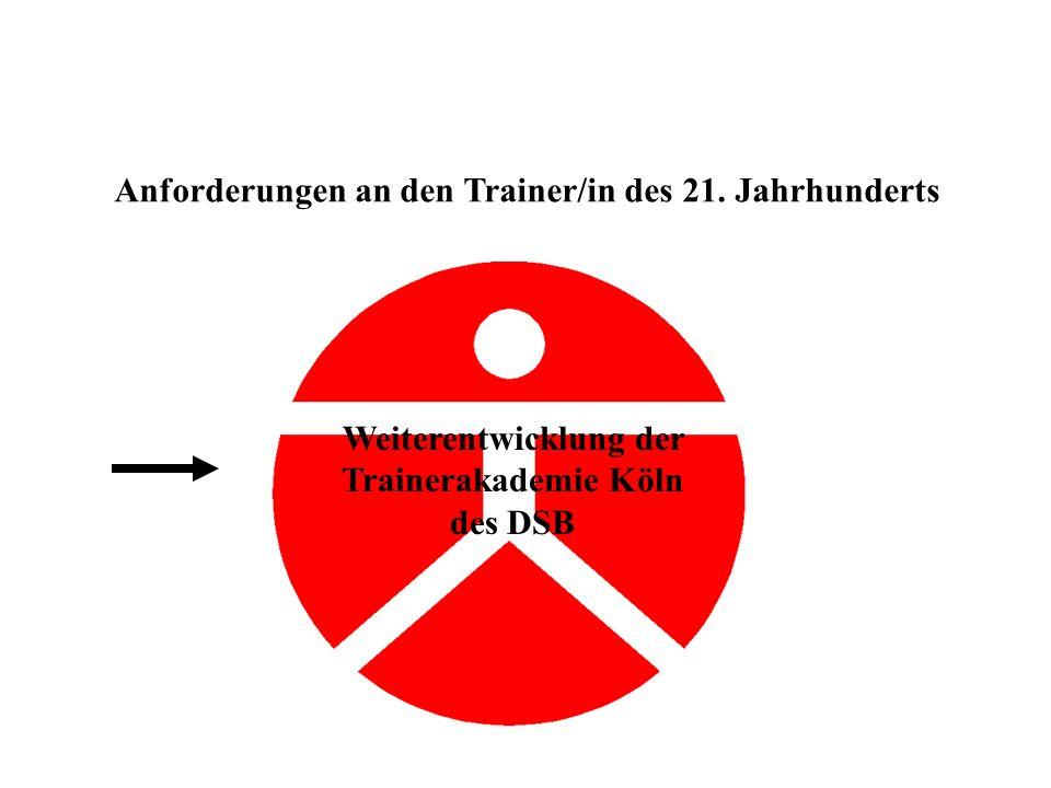 Anforderungen an den Trainer/in des 21. Jahrhunderts Weiterentwicklung der Trainerakademie Köln des DSB