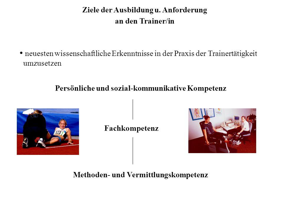 Persönliche und sozial-kommunikative Kompetenz Methoden- und Vermittlungskompetenz Fachkompetenz neuesten wissenschaftliche Erkenntnisse in der Praxis