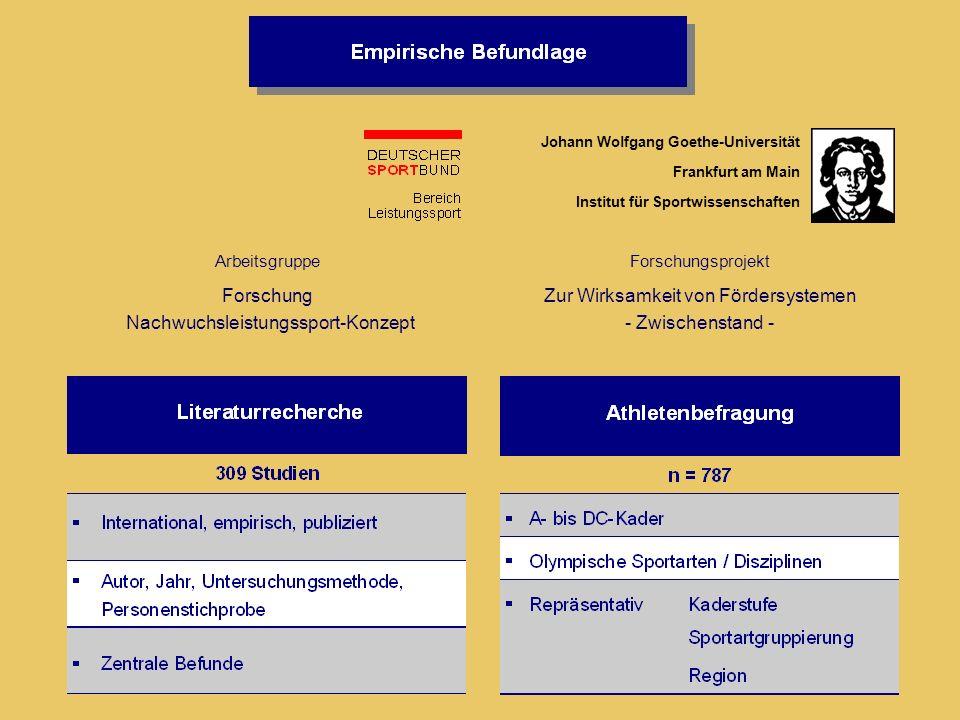 Forschungsprojekt Zur Wirksamkeit von Fördersystemen - Zwischenstand - Johann Wolfgang Goethe-Universität Frankfurt am Main Institut für Sportwissensc