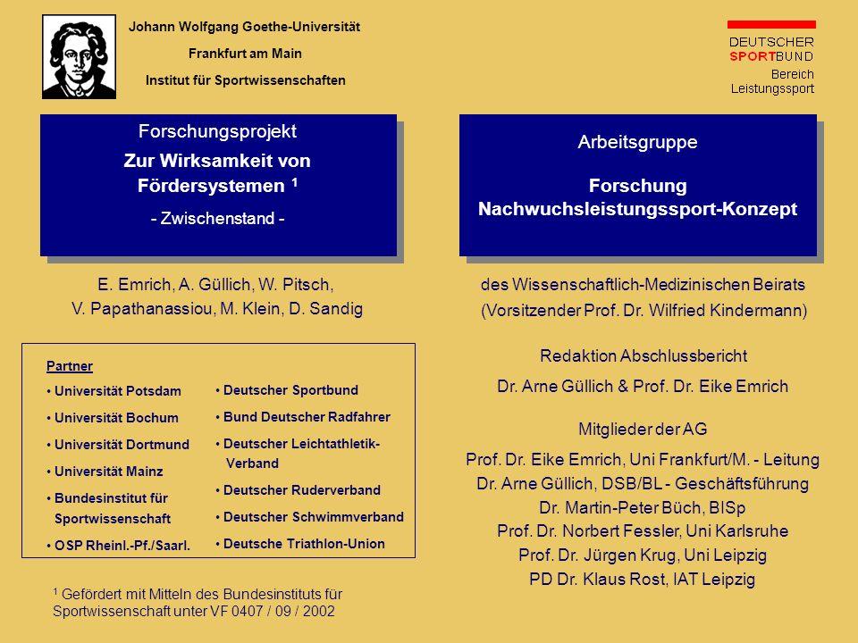 E. Emrich, A. Güllich, W. Pitsch, V. Papathanassiou, M. Klein, D. Sandig Forschungsprojekt Zur Wirksamkeit von Fördersystemen 1 - Zwischenstand - Fors