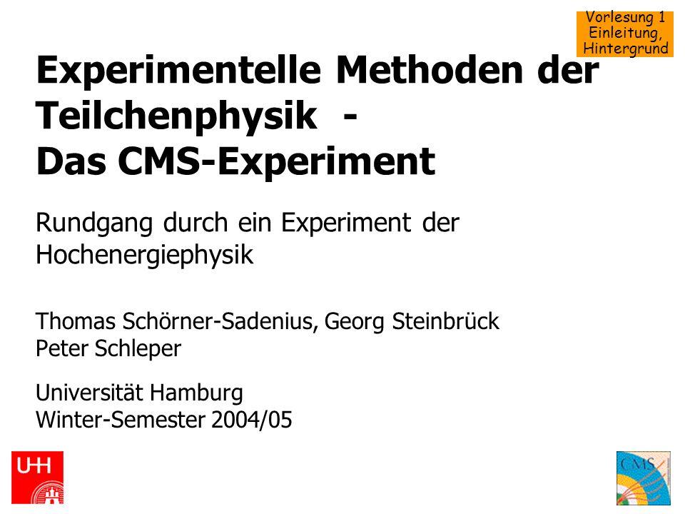 Vorlesung 1 Einleitung, Hintergrund WS 2004/05, 12.370Schörner-Sadenius, Steinbrück: Teilchenphysik, CMS22 Teilchenzoo, Eichtheorien QED, Feynman etc.