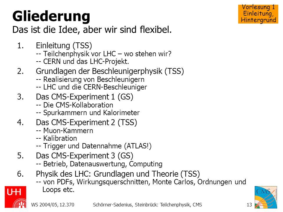 Vorlesung 1 Einleitung, Hintergrund WS 2004/05, 12.370Schörner-Sadenius, Steinbrück: Teilchenphysik, CMS13 Gliederung Das ist die Idee, aber wir sind