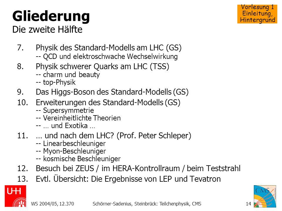 Vorlesung 1 Einleitung, Hintergrund WS 2004/05, 12.370Schörner-Sadenius, Steinbrück: Teilchenphysik, CMS14 Gliederung Die zweite Hälfte 7.Physik des S