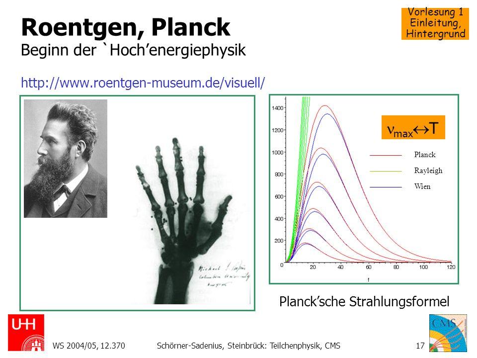 Vorlesung 1 Einleitung, Hintergrund WS 2004/05, 12.370Schörner-Sadenius, Steinbrück: Teilchenphysik, CMS17 Roentgen, Planck Beginn der `Hochenergiephy