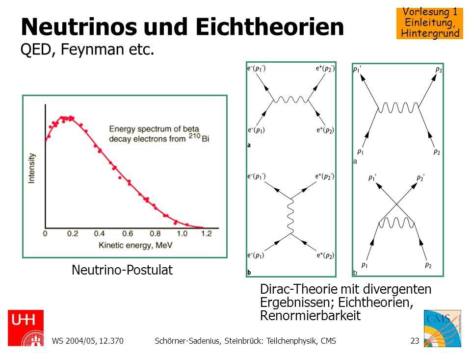 Vorlesung 1 Einleitung, Hintergrund WS 2004/05, 12.370Schörner-Sadenius, Steinbrück: Teilchenphysik, CMS23 Neutrinos und Eichtheorien QED, Feynman etc