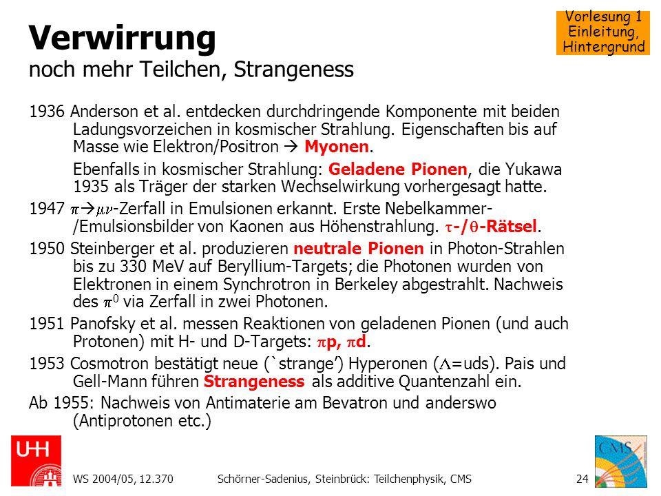 Vorlesung 1 Einleitung, Hintergrund WS 2004/05, 12.370Schörner-Sadenius, Steinbrück: Teilchenphysik, CMS24 Verwirrung noch mehr Teilchen, Strangeness