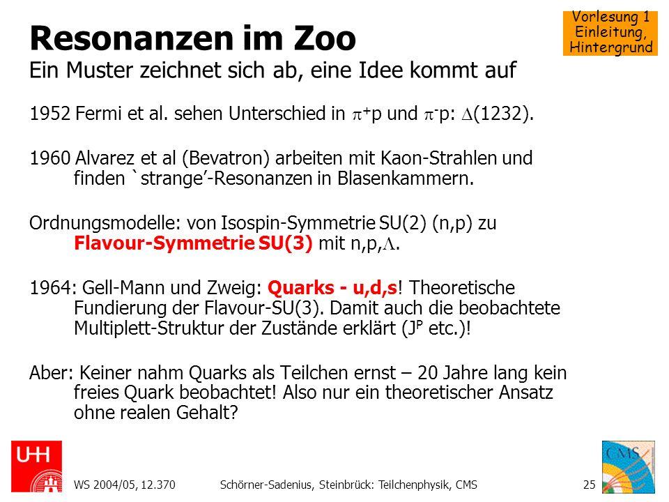 Vorlesung 1 Einleitung, Hintergrund WS 2004/05, 12.370Schörner-Sadenius, Steinbrück: Teilchenphysik, CMS25 Resonanzen im Zoo Ein Muster zeichnet sich